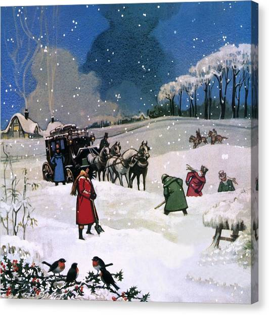 Shovels Canvas Print - Christmas Scene by English School