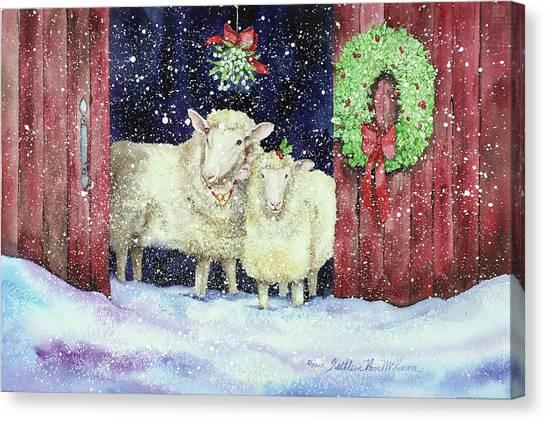 Mistletoe Canvas Print - Christmas Sheep by Kathleen Parr Mckenna