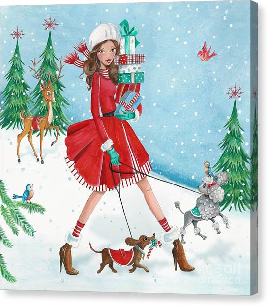 Christmas Shopping Canvas Print by Caroline Bonne-Muller