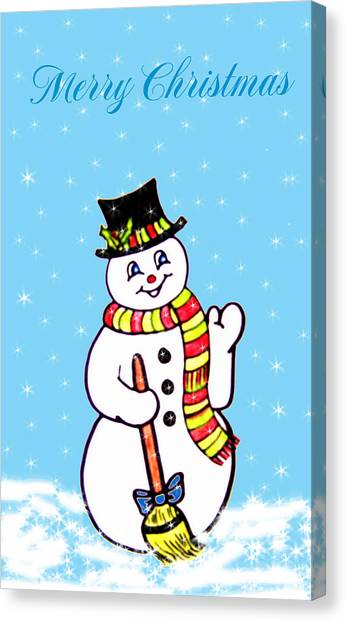 Christmas Snowman Canvas Print