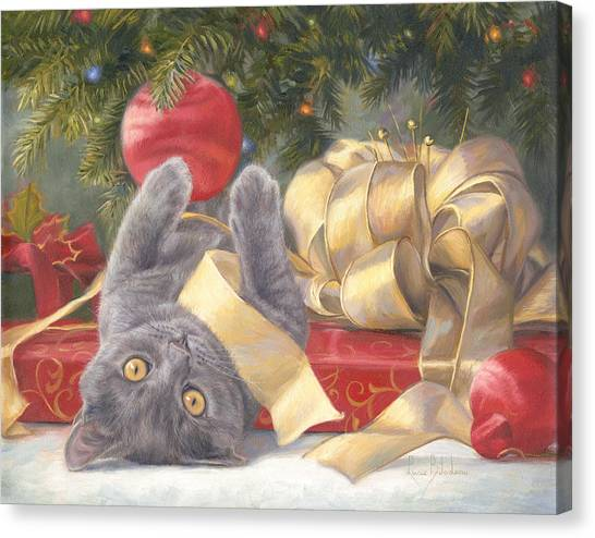 Kittens Canvas Print - Christmas Surprise by Lucie Bilodeau