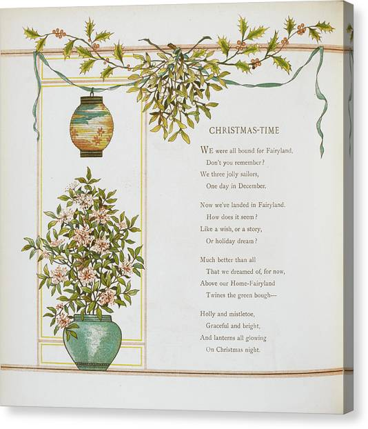 Mistletoe Canvas Print - 'christmas-time' Verse And Decoration by British Library