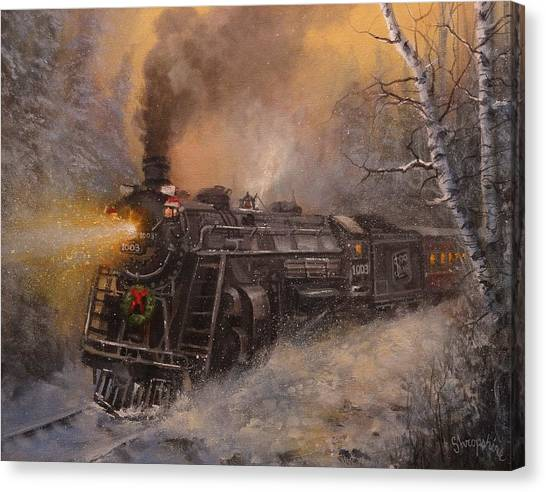 Locomotive Canvas Print - Christmas Train In Wisconsin by Tom Shropshire