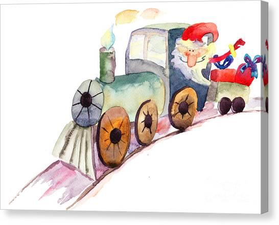 Christmas Train With Santa Claus Canvas Print