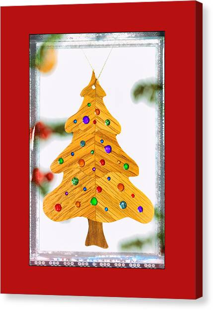 Christmas Tree Art Ornament In Red  Canvas Print