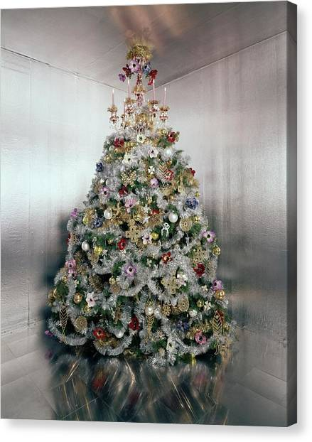 Gloria Canvas Print - Christmas Tree Decorated By Gloria Vanderbilt by Ernst Beadle