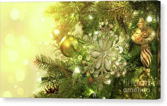 Christmas Tree Decorations With Sparkle Background Canvas Print