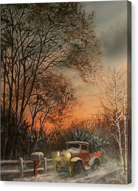 Old Trucks Canvas Print - Christmas Tree Delivery by Tom Shropshire