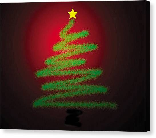 Christmas Tree With Star Canvas Print