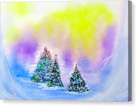Christmas Trees In The  Valley - Alcohol Inks In Pastel Canvas Print