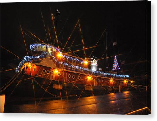 Christmas Tug Boat Canvas Print