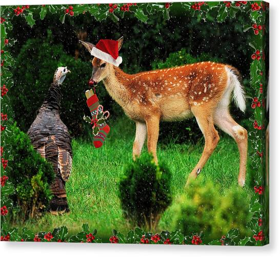 Christmas Wild Turkey And Fawn Canvas Print by Angel Cher