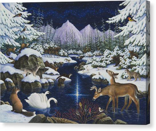 Beaver Canvas Print - Christmas Wonder by Lynn Bywaters
