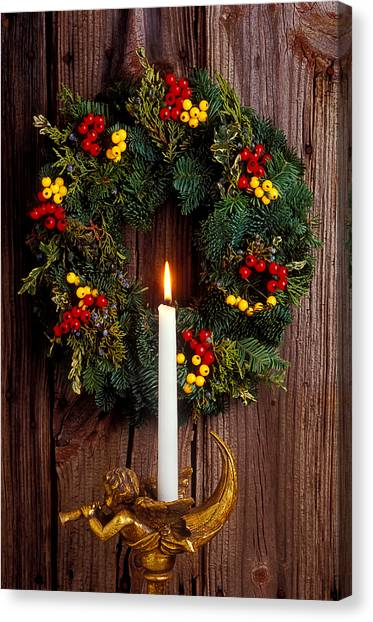 Wreath Canvas Print - Christmas Wreath And Angel With Candle by Garry Gay