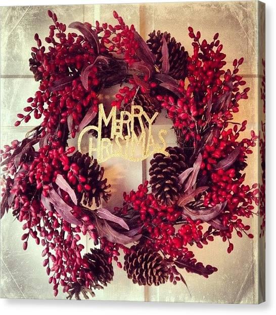 Wreath Canvas Print - Christmas Wreath #christmas #wreath by Teresa Mucha