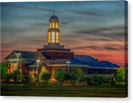 Christopher Newport University Trible Library At Sunset Canvas Print