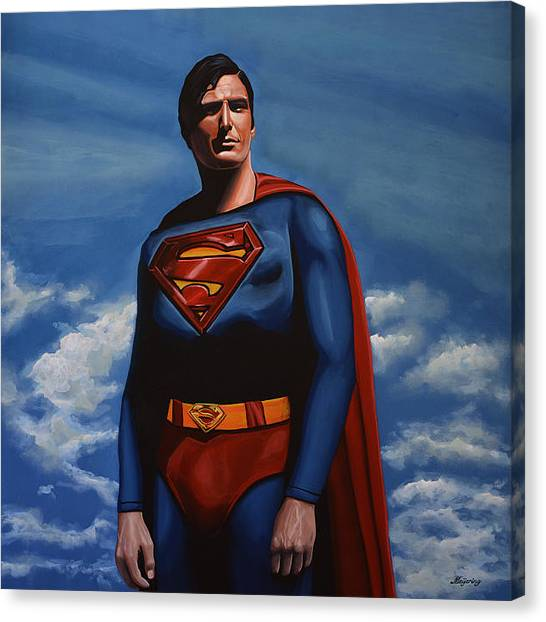 Steeler Canvas Print - Christopher Reeve As Superman by Paul Meijering