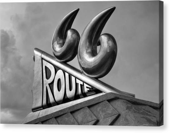 Historic Route 66 Canvas Print - Chrome 66 II by Ricky Barnard