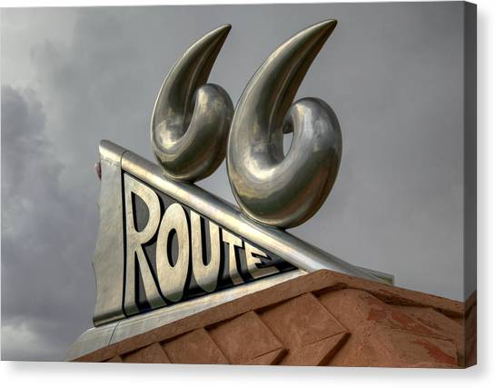 Historic Route 66 Canvas Print - Chrome 66 by Ricky Barnard