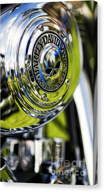 Chrome Harley Davidson Skull Casing Canvas Print