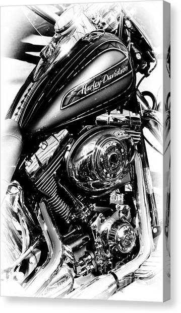 Chromed Harley Monochrome Canvas Print