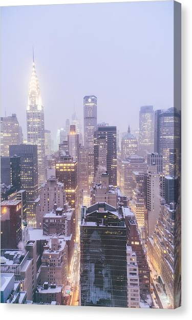 City Sunrises Canvas Print - Chrysler Building And Skyscrapers Covered In Snow - New York City by Vivienne Gucwa