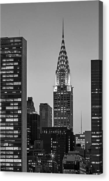 Chrysler Building Canvas Print - Chrysler Building New York City Bw by Susan Candelario
