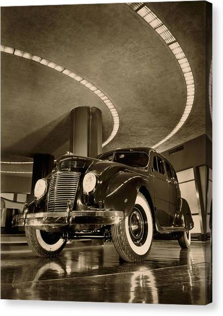Designing Canvas Print - Chrysler Building Showroom by Underwood Archives