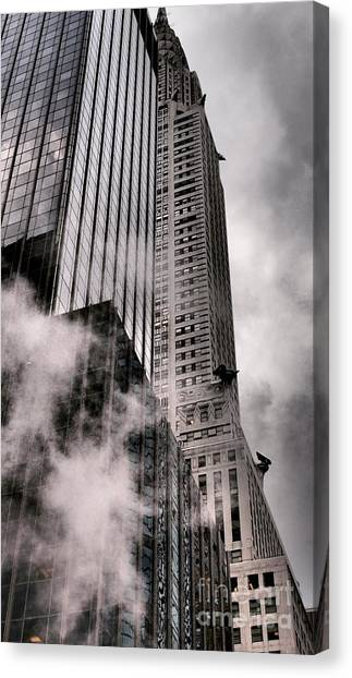 Chrysler Building With Gargoyles And Steam Canvas Print