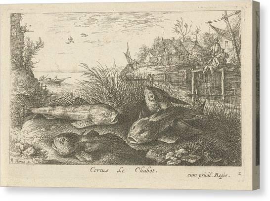 Chub, Squalius Cephalus On A Riverbank, Print Maker Albert Canvas Print by Albert Flamen And Jacques Van Merlen