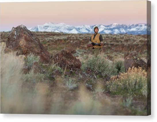 Shotguns Canvas Print - Chukar Hunting In Nevada by Michael Okimoto