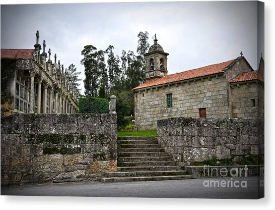 Church And Cemetery In A Small Village In Galicia Canvas Print