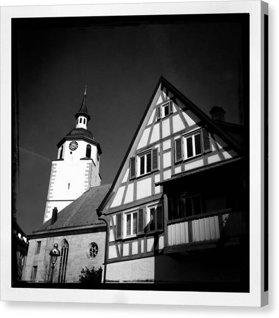 Germany Canvas Print - Church And Half-timbered House In Lovely Old Town by Matthias Hauser