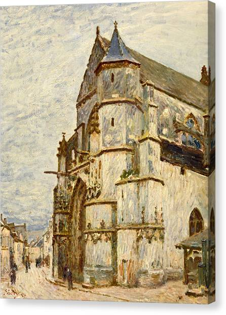 House Of Worship Canvas Print - Church At Moret After The Rain by Alfred Sisley