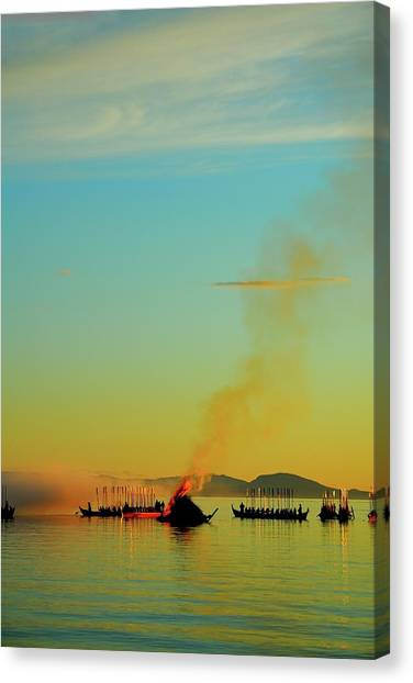 Church Boats On The Lake Siljan Canvas Print by Anders Ludvigson