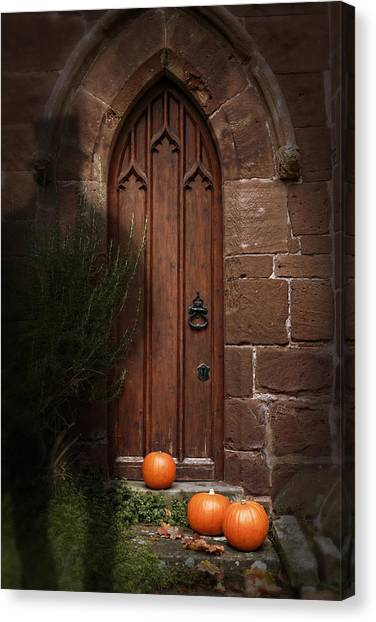 Hat Trick Canvas Print - Church Door At Halloween by Amanda Elwell