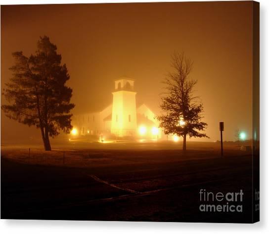 Church In The Fog Canvas Print