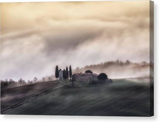 Rolling Hills Canvas Print - Church In The Sky !! by Luca Vescera