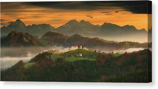 Farm Landscape Canvas Print - Church... by Krzysztof Browko