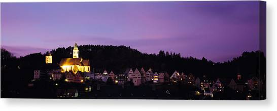 House Of Worship Canvas Print - Church Lit Up At Dusk In A Town, Horb by Panoramic Images