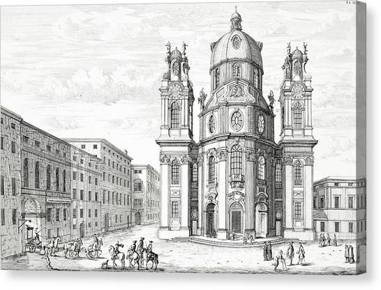 Baroque Canvas Print - Church Of Notre Dame, Salzburg by Johann Bernhard Fischer von Erlach