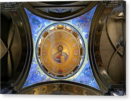 Byzantine Icon Canvas Print - Church Of The Holy Sepulchre Catholicon by Stephen Stookey