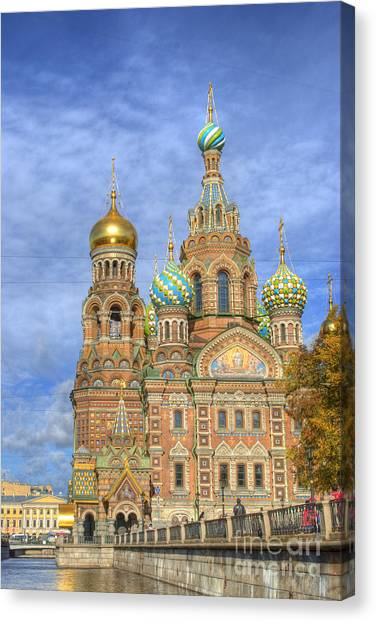 Canal Canvas Print - Church Of The Saviour On Spilled Blood. St. Petersburg. Russia by Juli Scalzi