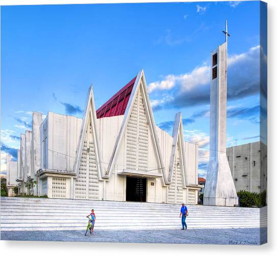 Christian Canvas Print - Church On The Main Square - Modern Architecture In Liberia Costa Rica by Mark E Tisdale