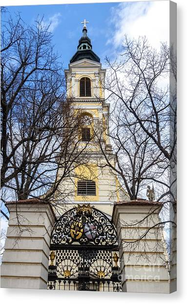 Canvas Print featuring the photograph Church Tower With Wrought Iron Gate  Grossweikersdorf Austria by Menega Sabidussi
