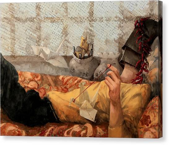 Storks Canvas Print - Cicogna Da Passeggio by Guido Borelli