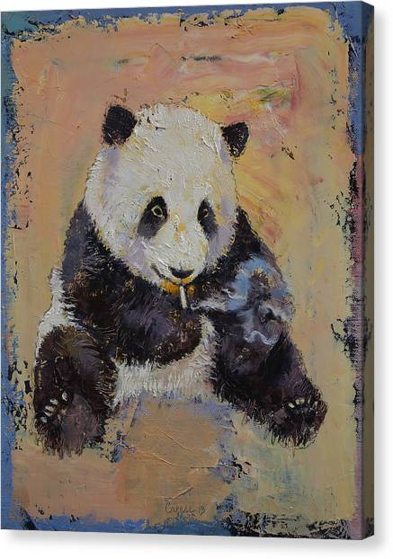 Panda Canvas Print - Cigarette Break by Michael Creese