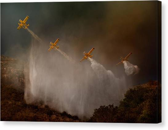 Firefighters Canvas Print - Cilento National Park - The Scene That Unfortunately Is Repeated Almost Every Year In Summer... by Antonio Grambone