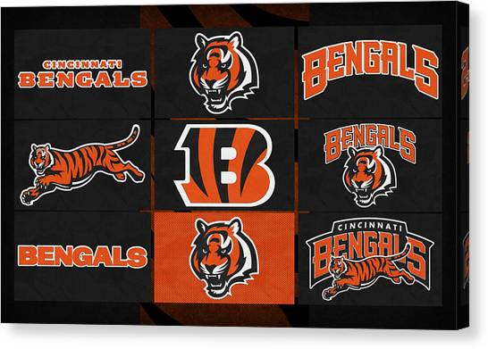 Cincinnati Bengals Canvas Print - Cincinnati Bengals Uniform Patches by Joe Hamilton