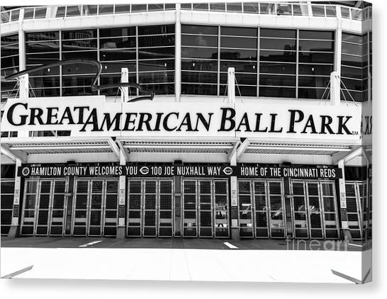 Cincinnati Reds Canvas Print - Cincinnati Great American Ball Park Black And White Picture by Paul Velgos